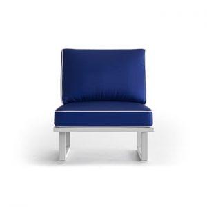 Fotoliu pentru exterior cu margini albe Marie Claire Home Angie, royal albastru