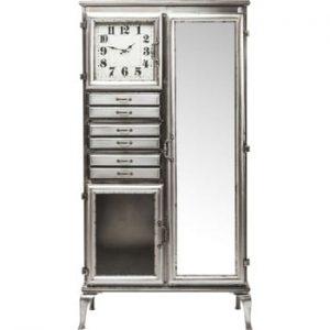 Comodă cu oglindă și ceas Kare Design Buster, lățime 85 cm, argintiu