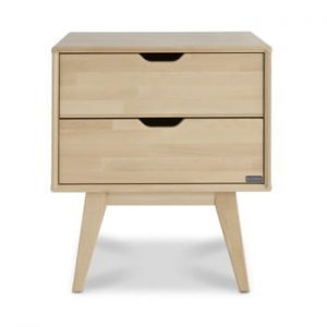 Noptieră fabricată manual din lemn de mesteacăn cu 2 sertare Kiteen Kolo