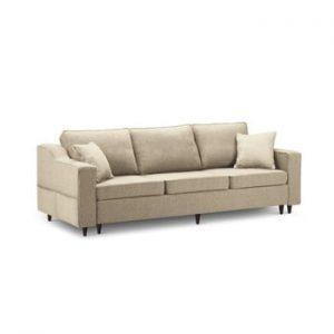 Canapea extensibilă cu 3 locuri și spațiu de depozitare Mazzini Sofas Narcisse, bej