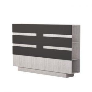 Tăblie pentru pat cu spațiu pentru depozitare Homitis Eddo, alb - gri antracit