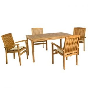 Set 4 scaune și masă din lemn de tec Santiago Pons