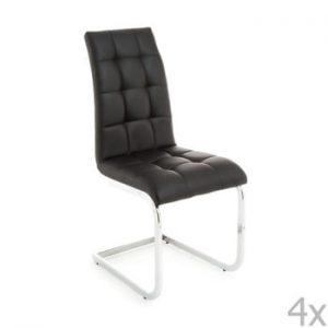 Set 4 scaune cu tapițerie din piele ecologică Tomasucci Cozy, negru