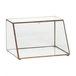 Cutie depozitare din sticlă cu detalii din alamă Hübsch Dulio, înălțime 19 cm