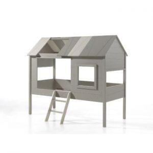 Pat în formă de casă pentru copii Vipack Charlotte, gri