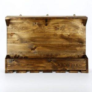 Suport din lemn pentru sticle de vin și pahare Catalin Taisia, 70x50x12cm