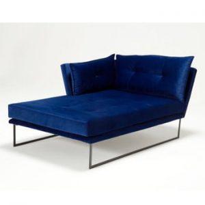 Șezlong Relax, cotieră pe partea stângă , albastru