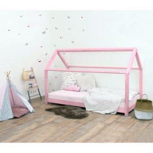 Pat pentru copii, din lemn de molid fără bariere de protecție laterale Benlemi Tery, 90 x 160 cm, roz
