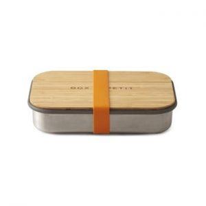 Cutie din oțel inoxidabil pentru gustări cu capac din bambus Black + Blum Bamboo, 900 ml, portocaliu