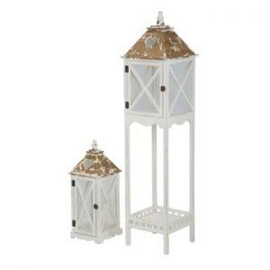 Set 2 felinare din lemn de brad Mauro Ferretti Hut, alb