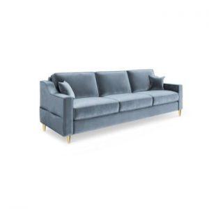 Canapea extensibilă cu 3 locuri Mazzini Sofas Marigold, albastru deschis