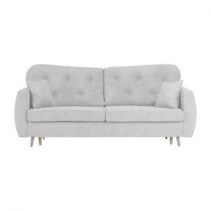 Canapea extensibilă cu 3 locuri și spațiu pentru depozitare Mazzini Sofas Orchid, gri deschis