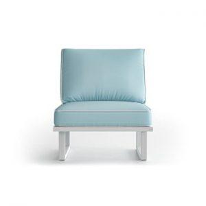 Fotoliu pentru exterior cu margini albe Marie Claire Home Angie, albastru deschis