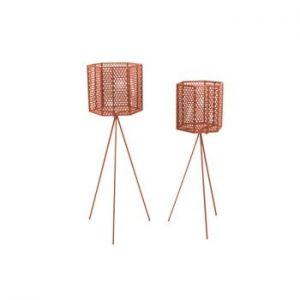 Set 2 suporturi metalice pentru ghiveci PT LIVING Hexagon, maro