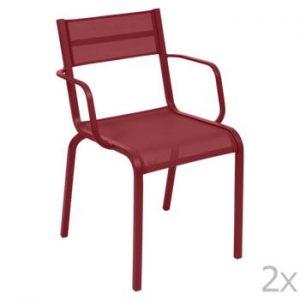 Set 2 scaune de grădină Fermob Oléron Arms, roșu