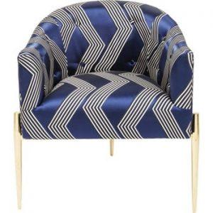 Fotoliu cu picioare aurii Kare Design Kimono, albastru