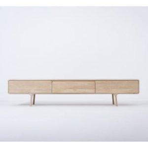 Comodă TV din lemn masiv de stejar cu 3 sertare Gazzda Fawn