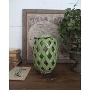 Felinar din ceramică Orchidea Milano, înălțime 28 cm, verde