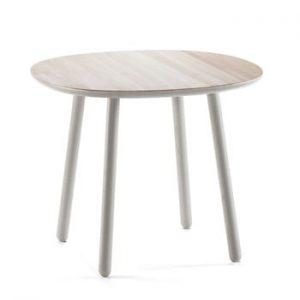 Masă dining din lemn masiv EMKO Naïve, ø 90 cm, gri
