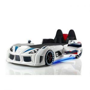 Pat în formă de automobil cu lumini LED pentru copii Racero, 90 x 190 cm, alb