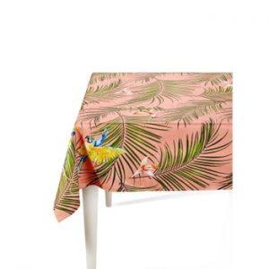 Față de masă The Mia Parrot, 150 x 150 cm, roz-verde