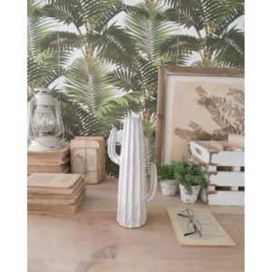 Statuetă din ceramică Orchidea Milano Cactus Summer, înălțime 31 cm, alb