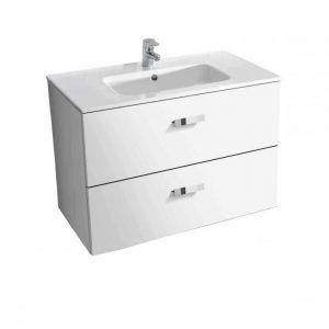 Set mobilier Roca Victoria Basic dulap baza cu 2 sertare 80x45cm alb si lavoar