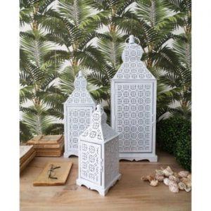 Set 3 felinare din metal Orchidea Milano Marrakech, alb