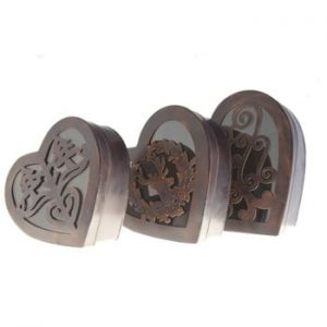 Set 3 cutii din metal Hearts Antic