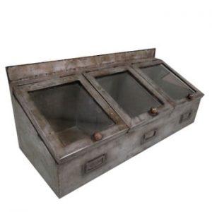 Cutie depozitare 3 compartimente Antic Line Zinc