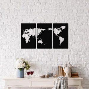 Set 3 decorațiuni metalice de perete World Map, 29 x 49 cm, negru