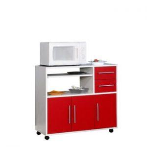 Sistem depozitare pe roți pentru bucătărie, cu rafturi Symbiosis Marius, roșu - alb