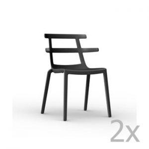 Set 2 scaune de grădină Resol Tokyo, negru