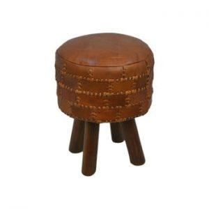 Scaun din piele de bovină HSM collection Art of Nature Vintage Cognac, ⌀ 33 cm