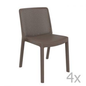 Set 4 scaune de grădină Resol Fresh Garden, maro ciocolată