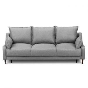 Canapea extensibilă cu 3 locuri și spațiu pentru depozitare Mazzini Sofas Ancolie, gri