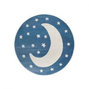 Covor rotund KICOTI Moon, ø 100 cm, albastru-alb