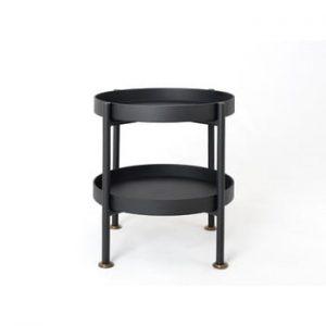Masă auxiliară cu blaturi suprapuse Custom Form Hanna, ⌀ 40 cm, negru