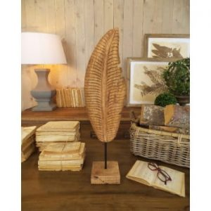 Decorațiune din lemn de mango Orchidea Milano Leaf, înălțime 60 cm