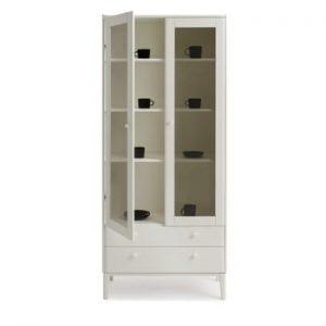Vitrină cu 2 uși fabricată manual din lemn masiv de mesteacăn Kiteen Matinea, alb