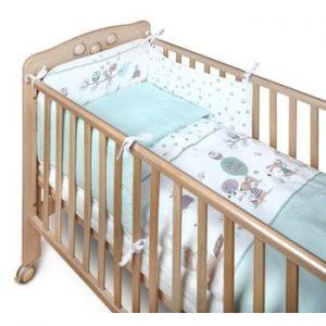 Protecție grilaj pat pentru bebeluși YappyKids Bumper Forest 60 x 60 cm, verde