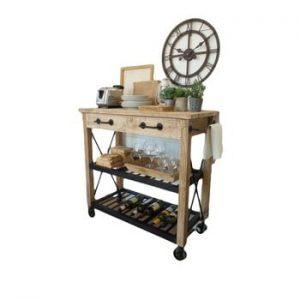 Masă de bucătărie cu roți din lemn de mango Orchidea Milano Industrial