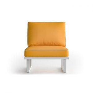 Fotoliu pentru exterior cu margini albe Marie Claire Home Angie, galben