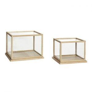 Set 2 cutii decorative pentru depozitare cu o construcție din lemn de stejar Hübsch Oak Display Low