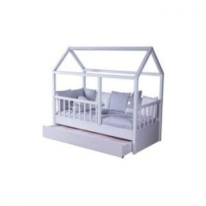 Pat dublu în formă de căsuță cu pat suplimentar extensibil pentru copii Mezzo My House, 90 x 190 cm, alb