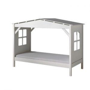 Pat în formă de casă pentru copii Vipack Pino Cabin, 90x200cm, alb