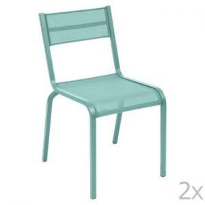 Set 2 scaune de grădină Fermob Oléron, albastru deschis