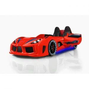 Pat în formă de automobil cu lumini LED pentru copii Racero, 90 x 190 cm, roșu