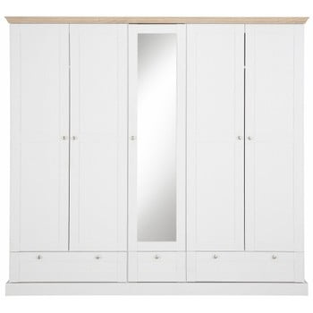 Șifonier cu 5 uși și oglindă cu model de stejar Støraa Bruce, alb