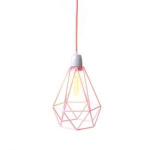 Lustră Filament Style Diamond #1, abajur roz, cablu roz